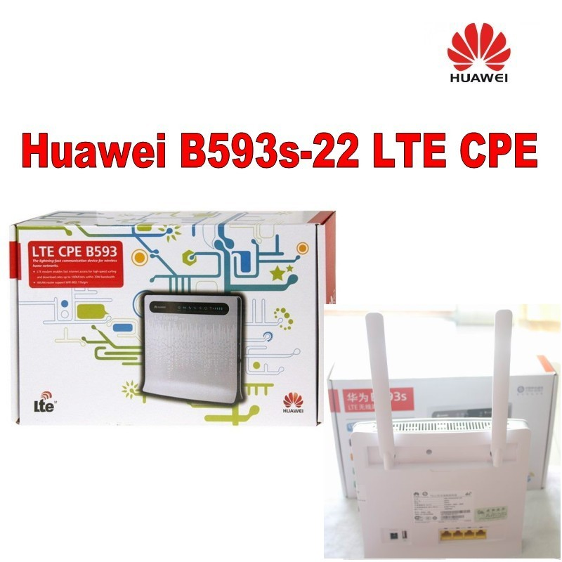 Huawei B593 4G LTE CPE Wireless and WLAN Router 100Mbps WiFi Router Supporting 32 Users+a pair of B593 antenna huawei b593 b593s 22 4g lte fdd 100mbps unlocked mobile wireless wifi router a pair of b593 external antenna