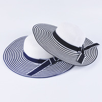 Paper stripped large brim with bow tie summer sun hat for women