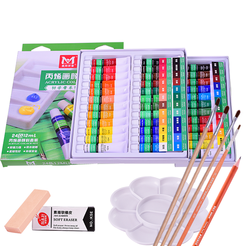 Rich Acrylic Pigment, 24 Color Suit, Beginner Painting, Graffiti Wall, Painted Paints, Painted Pigments Acrylic Paint Set цена