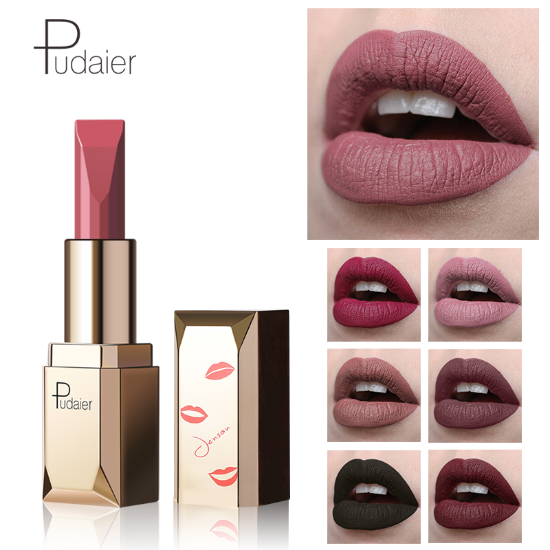 Pudaier Professional makeup  Matte Lipstick Lips Nude Sey Lipstick Lip Waterproof Lipstick Rouge a Levre Mat Lips maquillaje