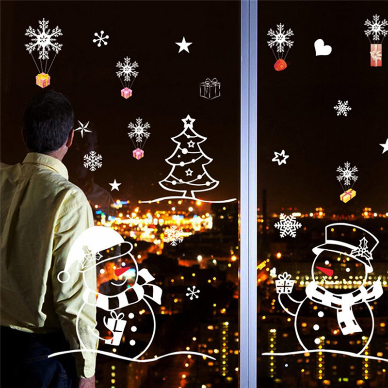 70*50cm Removable Wall Sticker Snowman Christmas Tree Window Poster DIY PVC Home Store Shop Decals Christmas Decorations
