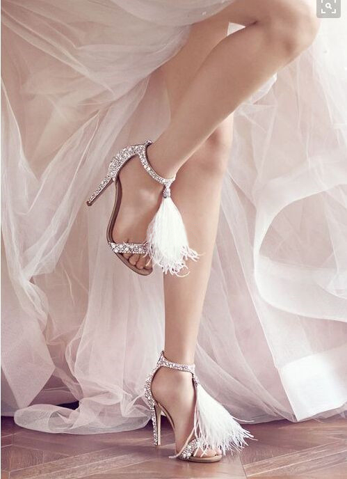 High Quality Open Toe High Heel Sandals Luxury Rhinestone Feathers Embellished Sandal Wedding Party Summer Dress Shoes Women top selling open toe high heel sandals luxury rhinestone embellished lace up sandal wedding party summer dress shoes women