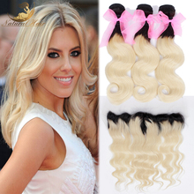 7A 1b 613 13X4 Body wave lace frontal closure with 3 bundles human hair wave Blonde