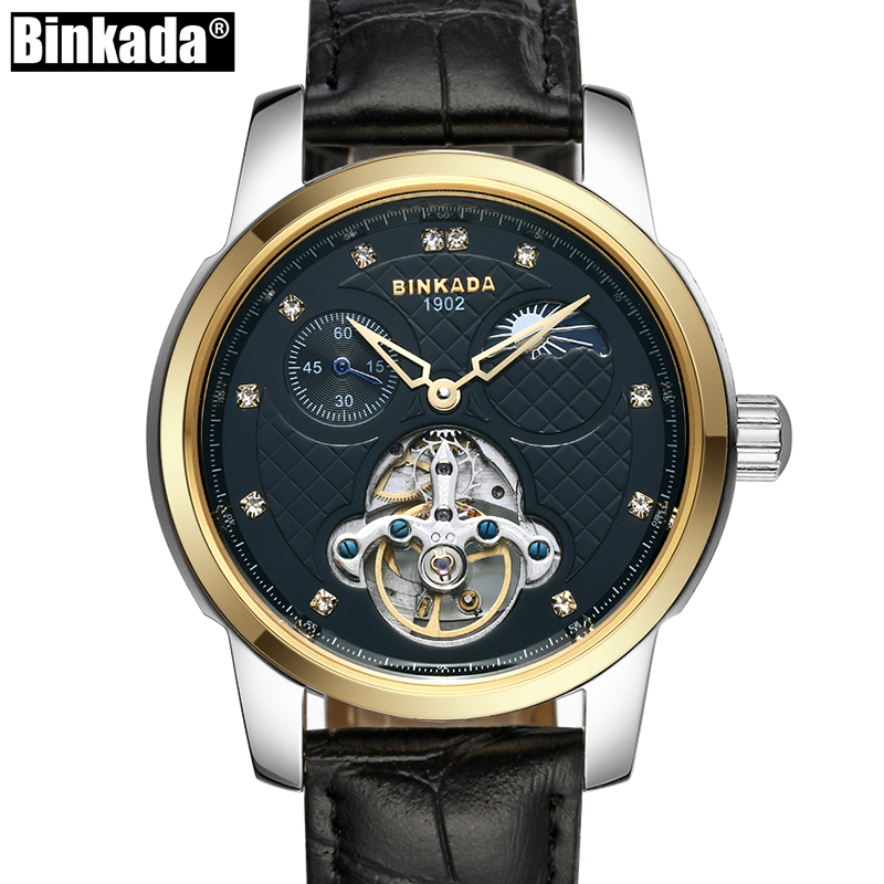 BINKADA Mens High Quality Automatic mechanical Watches Men Top Brand Luxury Business Leather Steel watch Man Relogio Masculino sapphire automatic mechanical watch classic mens watches top brand luxury fashion male wristwatch high quality relogio masculino