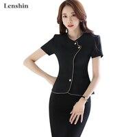 2 Pieces Sets Summer Chinese Style Black Skirt Suit Short sleeve Blazer Jacket & Skirt Women Formal Work Wear Career Apparel