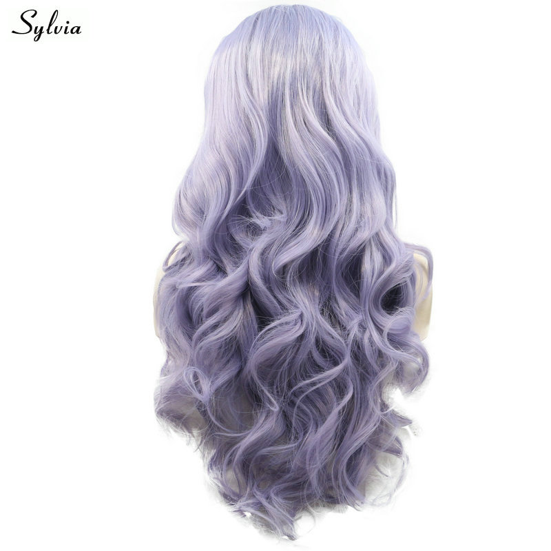 Sylvia Long Glueless Hair Pastel Purple/Lilac Colour Synthetic Lace Front Wigs For White Women Body Wave Heat Resistant Cosplay