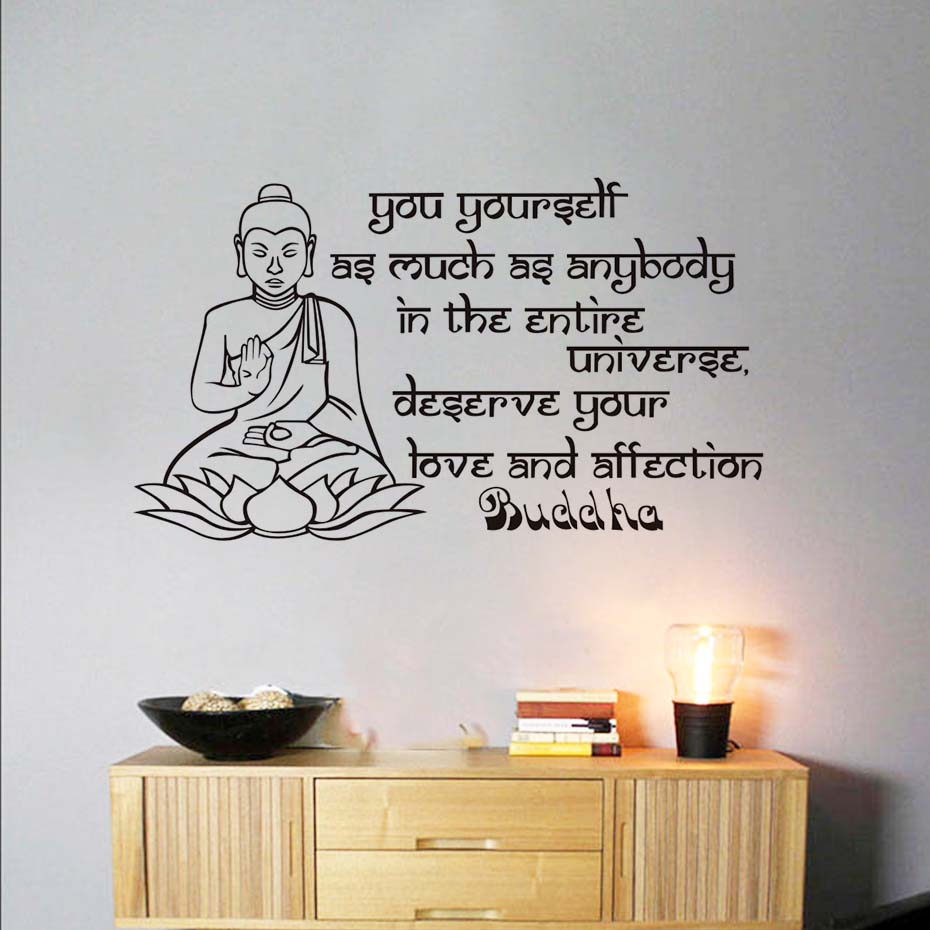 Lotus Buddha Wall Sticker Saying Yourself As Much As Anybody Home Decor Buddhas Famous Aphorism Text Wall Decal Buddhism ...
