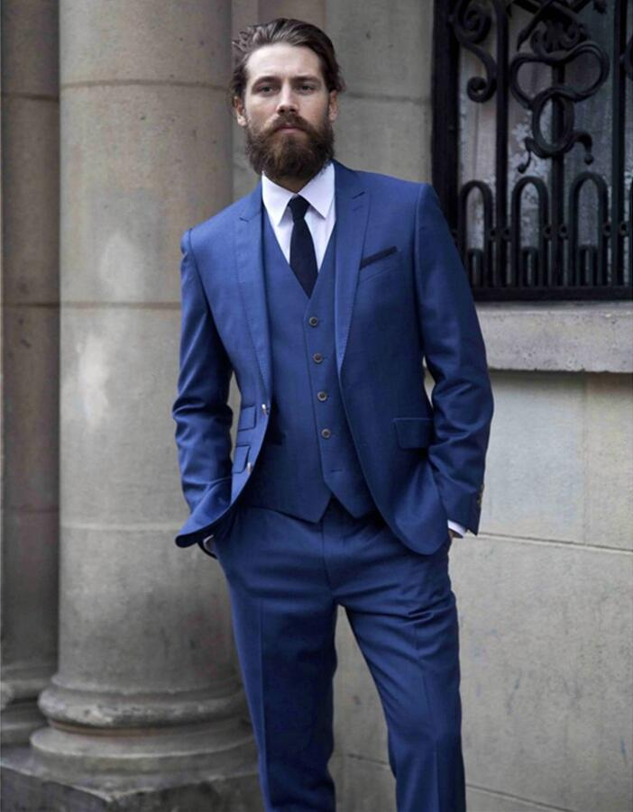 Custom Made Royal Blue Men Suits Slim Fit Tuxedo 3 Piece Skinny Tailor Suits Groom Wedding Suits For Men (Jacket+Pants+Vest)