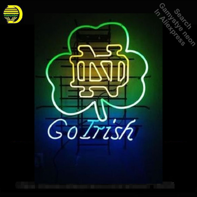 Neon Sign for University of ND GoIris neon bulb Sign neon lights Sign glass Tube Handcraft Iconic Sign illuminated aluminum