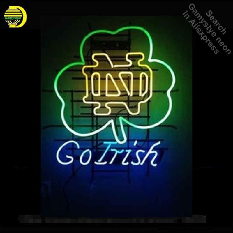 Neon Sign for Sports Teams University of ND GoIrish neon bulb Sign neon lights Sign glass Tube Handcraft Iconic Sign illuminated