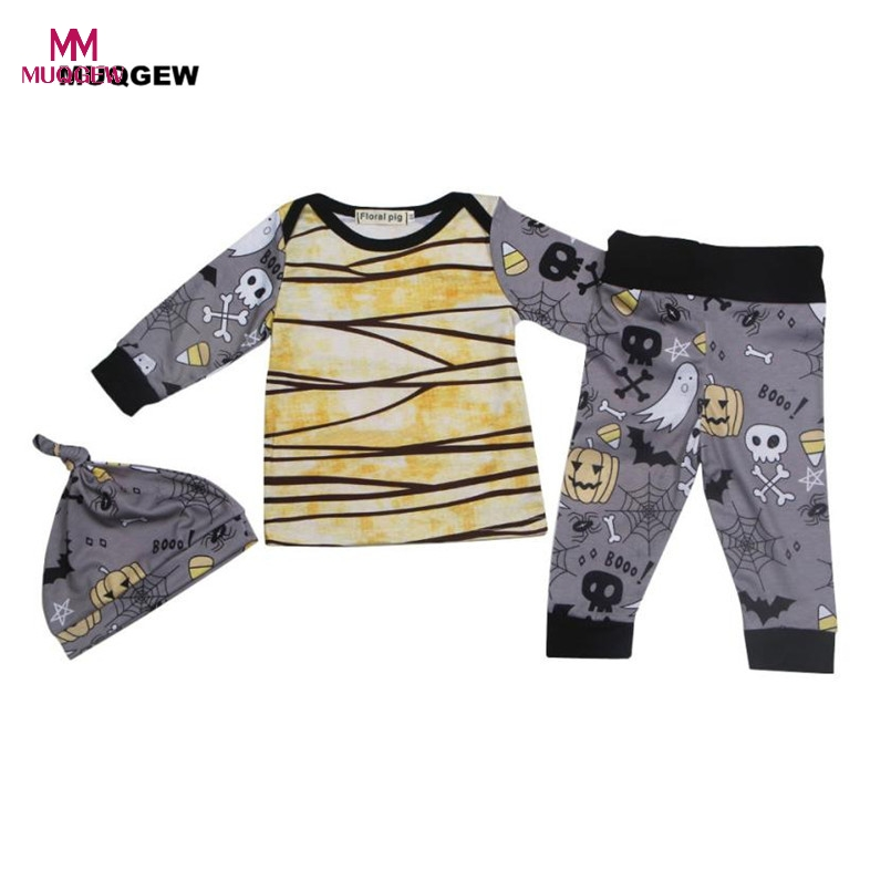 New Arrival Toddler Baby Boys Girls Halloween Pumpkin Ghost Print Long Sleeve T Shirt Tops+Pants + Hat 3Pcs Set Clothes