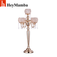 HeyMamba 5 Head Vintage Candelabras Gold Plated Crystal Table Candle Holder Stand For Home Hotel Wedding