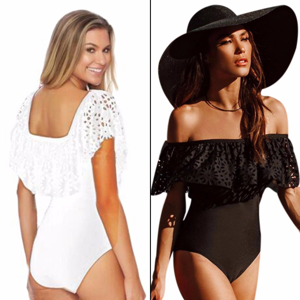 2017 NEW Hollow Out Off Shoulder One Piece Bikini Push Up Padded Women Swimwear Swimsuit Solid Color Black White Free Shipping 2017 black white women ruffled off shoulder padded one piece swimwear hollow out monokini
