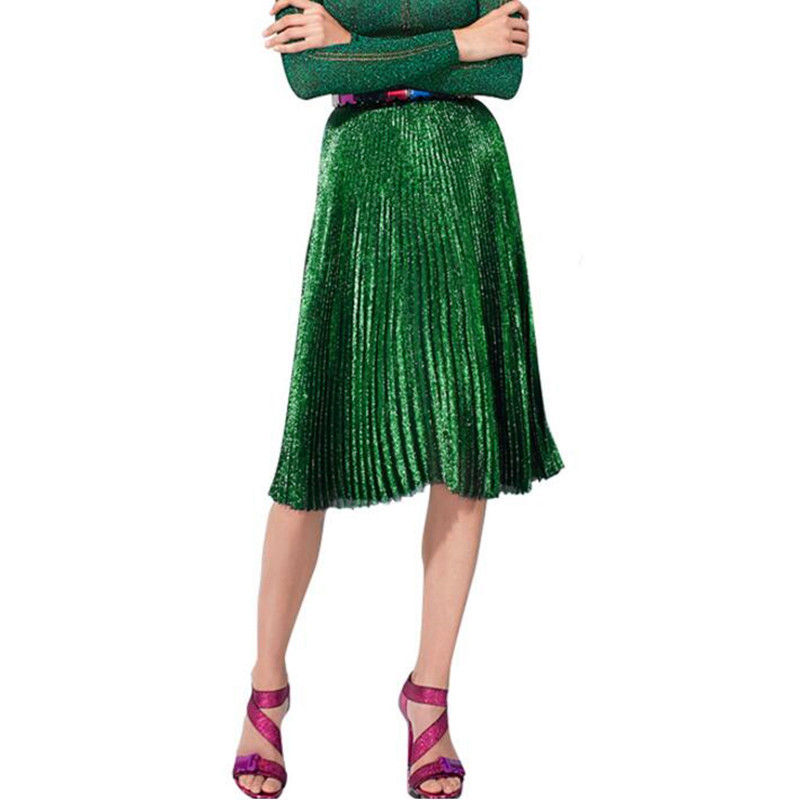 2017 Women Pleated Skirts Bling Bling Glitter Gold Flared High Waist Tutu Party Ladies Spring Autumn Midi Skirt Green Blue