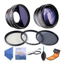 58mm 0.45x gran Angular y Telefoto 2.2x + 58mm UV CPL ND4 Filtro Set + 5in1 limpieza kits para Cámaras RÉFLEX