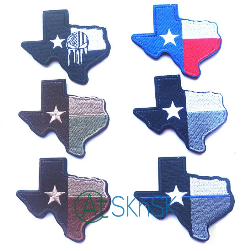 1pcs United States Texas Map Shape Stickable Military Patch Sew on Patch DIY Applique Six Colors for Choice