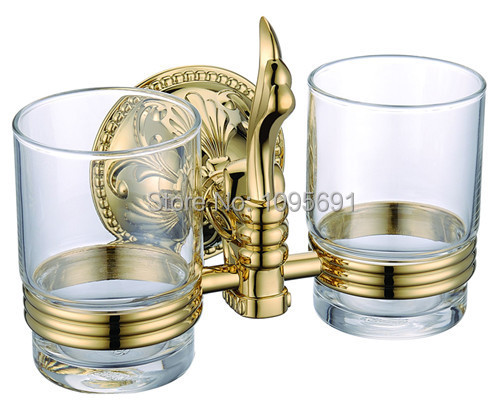 European Classical Roman Style Bathroom Accessories Gold Finish Double  Tumbler Holder,Toothbrush Cup Holder,