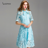 2018 Summer Light Blue Hollow Lace Dress High Quality Bow Short Sleeve Party Empire Elegant Teal Designer Midi Women Dresses XXL