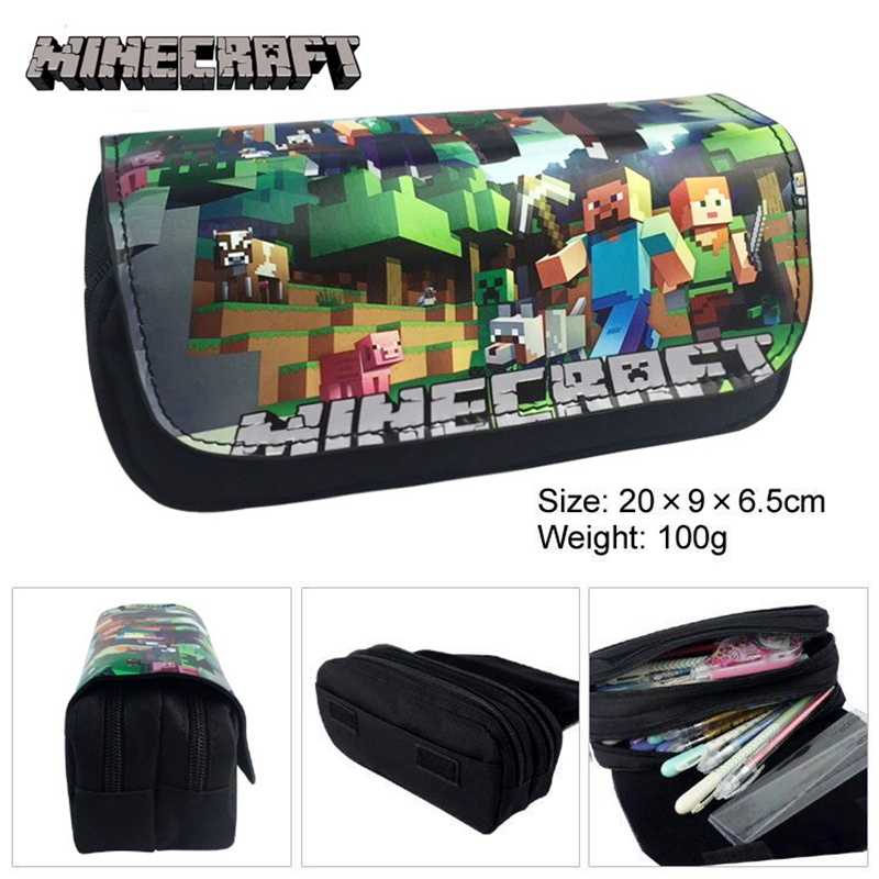 Classic Game Minecraft Canvas Pencil Bag Cute Cartoon Large Capacity PU Pencil Case School Pencil Box Bts Stationery Child Gift deli gradient candy color large capacity zipper pencil stationery case student pencil bag