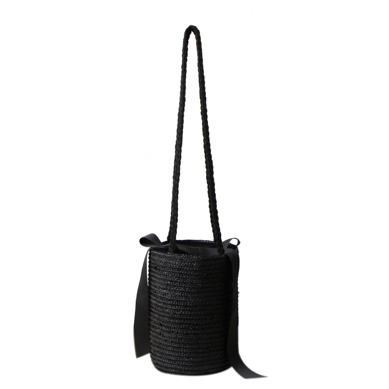 FGGS Japan Style Bucket Cylindrical Straw Bags Bow Wheat-straw Woven Women Crossbody Bags Shoulder Tote Bag String