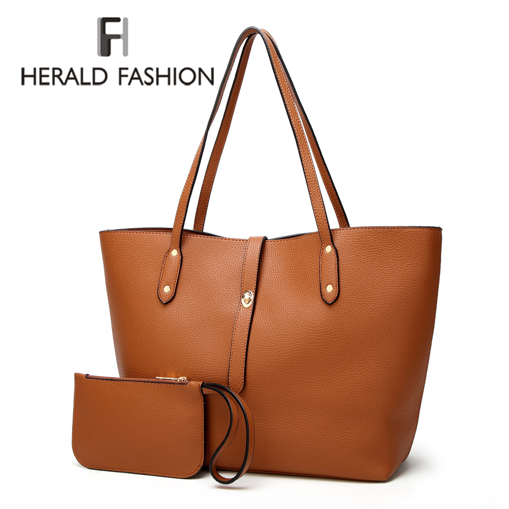 Herald Fashion Women Shoulder Bags Fashion PU Leather 2pcs Composite Bag Famous Brand Women Tote Bag Rivets Female Handbag Sets fashion women s tote bag with rivets and checked design