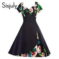 Sisjuly Women S Vintage Dress Summer Black Short V Neck Backless Floral Print Expansion Mid Calf
