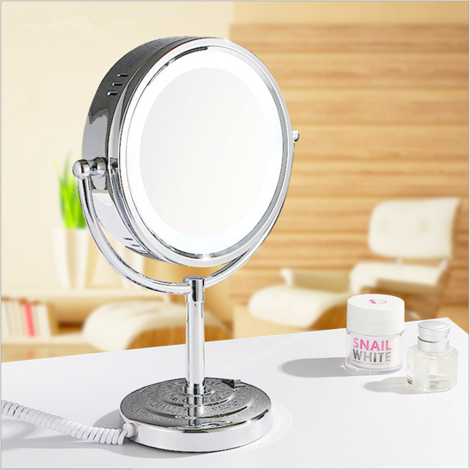 Professional LED makeup mirror 9 Inch compact cosmetic mirror lady's 3X Double Sided magnifying   bath Makeup mirror gurun led makeup mirror 8 inch 3x cosmetic mirror magnifying makeup mirror led lights wall mounted compact blank m1802
