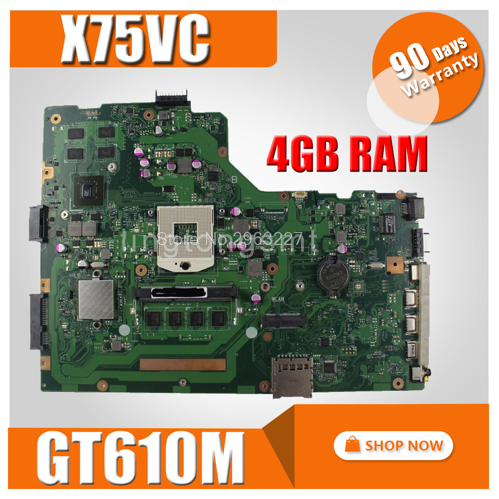 X75VD Motherboard REV 2.0 GT610M 4GB For ASUS X75V X75VC X75VD X75VB X75VB Laptop motherboard X75VD Mainboard X75VD motherboard free shipping x75vd gt610m with 4g ram mainboard for asus r704v x75vd x75vb x75vc x75v motherboard rev 2 0 100