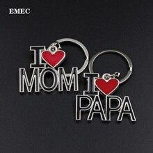 EMEC 2 шт./пара брелок с буквами I Love PAPA MAMA Красное сердце любовь автомобильный брелок для родителей автомобильный металлический брелок