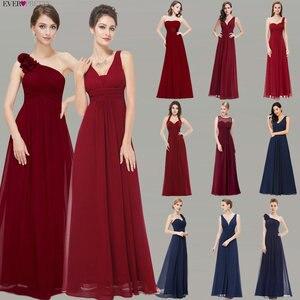 Image 1 - ブルゴーニュウエディングドレス以来きれいな女性の 2020 格安aラインシフォンロイヤルブルーロング新婦のドレスウェディングパーティー