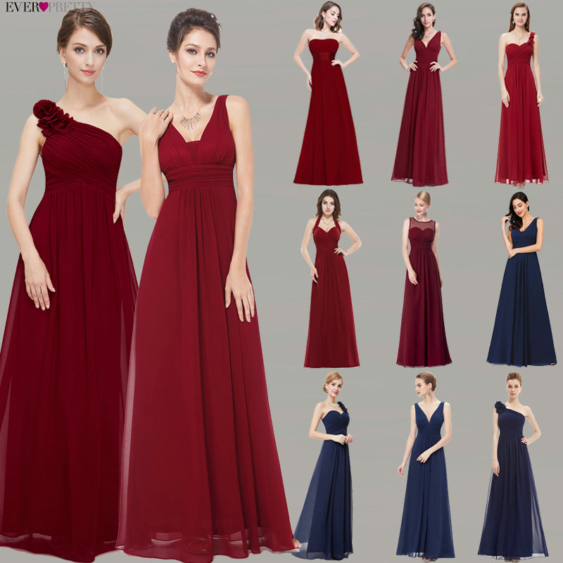 Burgundy Bridesmaid Dresses Ever Pretty Women's 2020 Cheap A-line Chiffon Royal Blue Long Bridesmaids Dresses for Wedding Party
