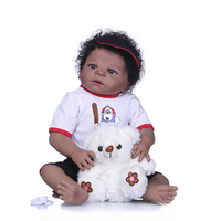 NPK black doll reborn 55cm real Silicone Reborn Baby boy Doll Toys can bathe play house toy Bebes reborn menino boneca