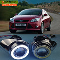 Car Styling DRL for Ford Focus Sedan Hatchback 2012 2013 2014 COB Angel Eyes Daytime Running Lights H11 55W Fog Lights Assembly