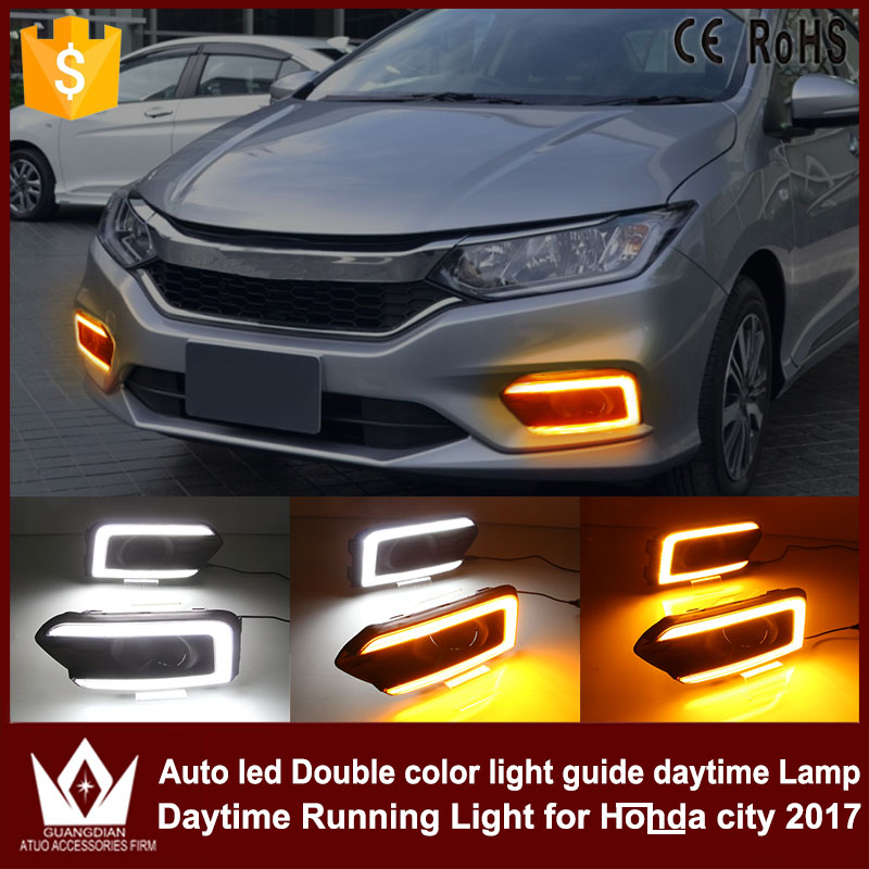 Tcart auto led daytime running for honda city 2017+ car drl with yellow turn signal light