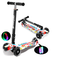 Children Mini Scooter Kick Scooter With 4 Flashing PU Wheels 3 Files Adjust Height Foot Scooter