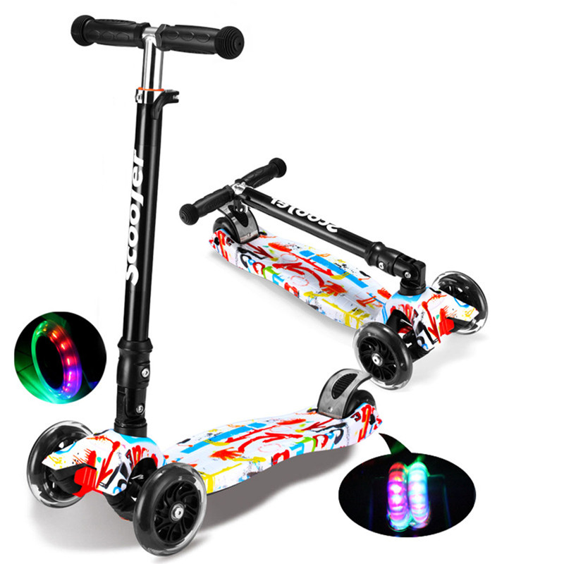 все цены на Children Mini Scooter Kick Scooter With 4 Flashing PU Wheels 3 Files Adjust Height Foot-Scooter Camokat For Kids онлайн