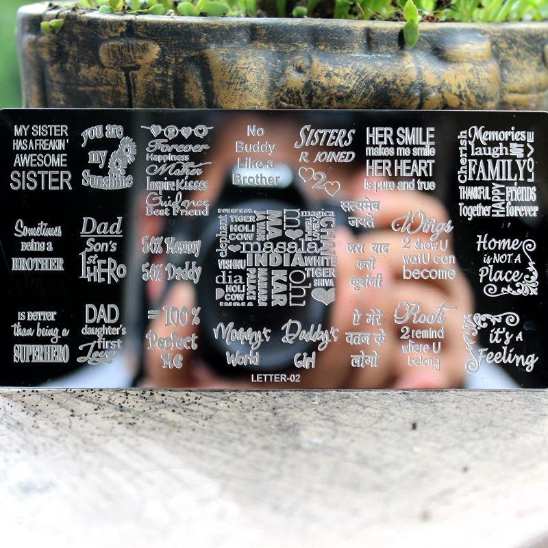 1Pcs English Letter Nail Stamping Plates Stencil Kuku Keluli Tahan - Seni kuku - Foto 3