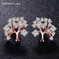 Anfasni new rose banhado a ouro cubic zirconia em forma de árvore de jóias brincos para mulheres boucle d'oreille femme cer0502