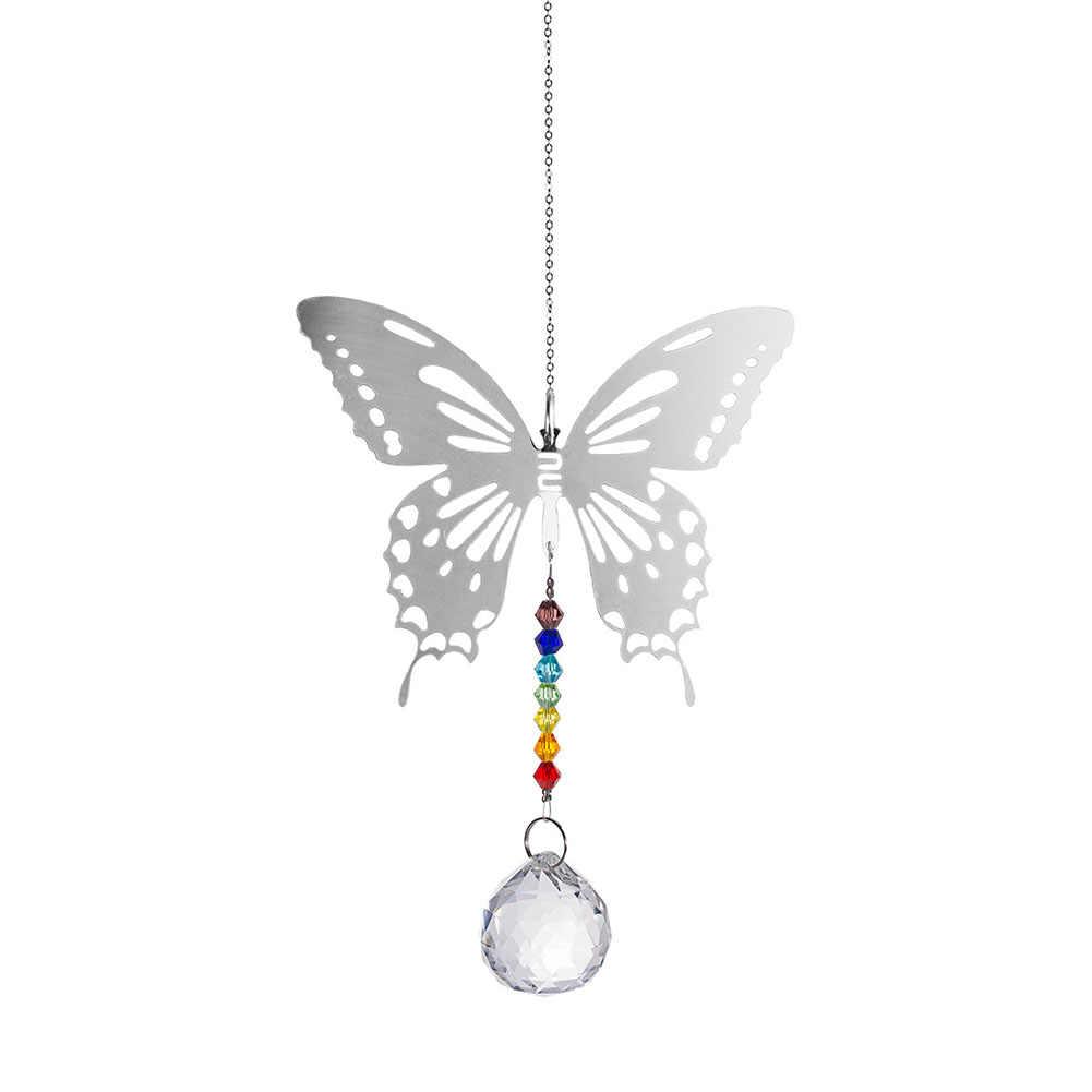 Na zewnątrz kryty okno dekoracyjne słońce łapacze pryzmaty w kształcie motyla Rainbow akcesoria wiszące kryształ wisiorek odbicie