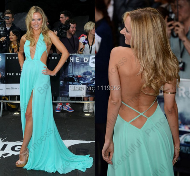 3283f3e591 2014 Kimberley Garner Free Shipping Sexy A Line Backless Ruffles Long Side  Slit Celebrity Dress Red Carpet Evening Gown-in Celebrity-Inspired Dresses  from ...