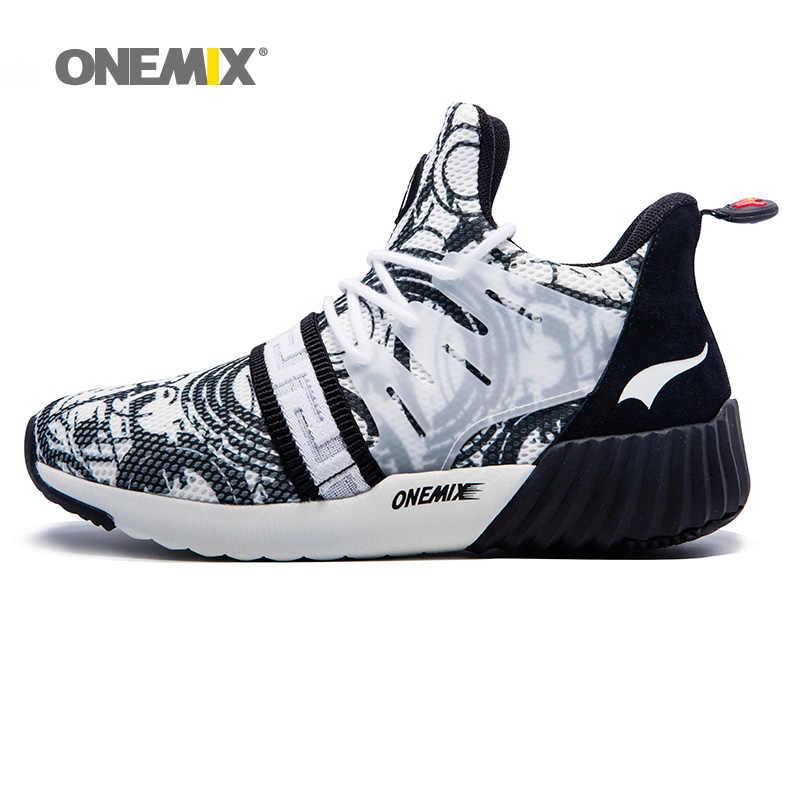 ONEMIX 2020 ชายรองเท้าวิ่งรองเท้าผู้หญิงกีฬากลางแจ้งรองเท้าน้ำเงินแนวโน้มรองเท้ากีฬา Impression เดินรองเท้าผ้าใบ