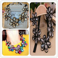 Min. order $10. Free shipping! Elegant women fashion flower pendant choker fake collar Necklace metal geometric texture  jewelry