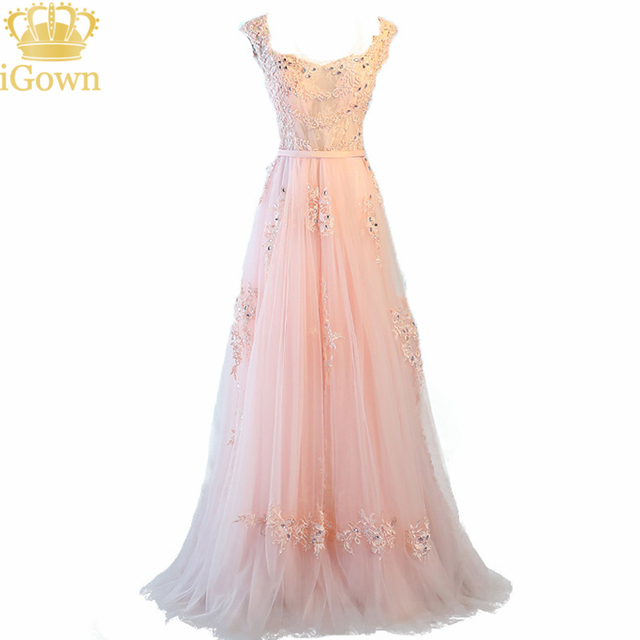 iGown New Fashion Scalloped Neck A Line Bridesmaid Dresses Lace Pink Long Party Dress With Spaghetti Straps