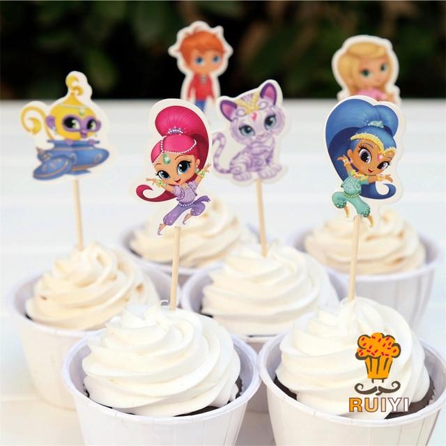 24 adet karikatür pırıltılı ve parlaklık şeker çubuğu cupcake toppers pick bebek duş çocuk doğum günü partisi malzemeleri