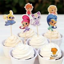 24 stks Cartoon shimmer en glans candy bar cupcake toppers pick baby douche kids verjaardagsfeestje levert