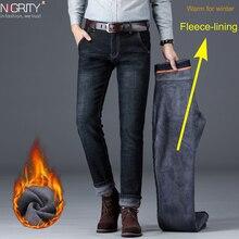 NIGRITY hiver thermique chaud hommes polaire jean coupe droite décontracté Stretch épais Denim flanelle doux pantalon pantalon classique grande taille 42