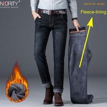 NIGRITY zimowe ciepłe ciepłe męskie polarowe proste dżinsy na co dzień Stretch grube Denim flanelowe miękkie spodnie spodnie klasyczne Plus Size42
