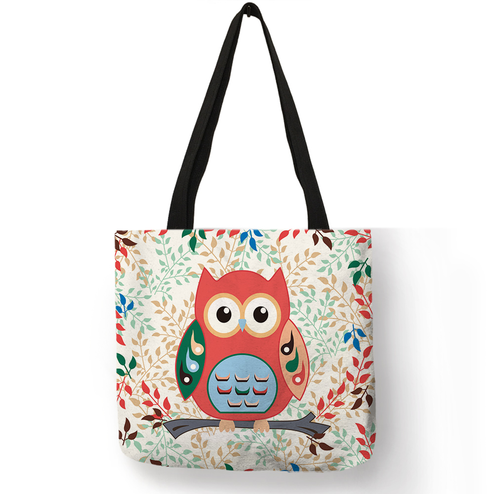 Exclusive Floral Design Tote Bag Cartoon Cute Owl Trees Stripe Print Linen Handbag Lady Girls School Daily Shopping Storage BagsExclusive Floral Design Tote Bag Cartoon Cute Owl Trees Stripe Print Linen Handbag Lady Girls School Daily Shopping Storage Bags