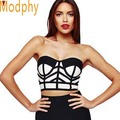 2015 women sexy elastic black white bandage top chic bodycon club strapless tube sleeveless knitted rayon crop top HL406