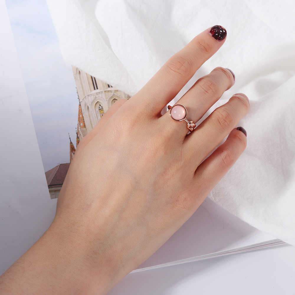 1 Pcs Pink Crystal Moonstone Rings European Fashion Female Creative Knot Rings Plated Rose Gold Color Jewelry